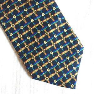 Vintage GAP silk made in USA black gold men's tie